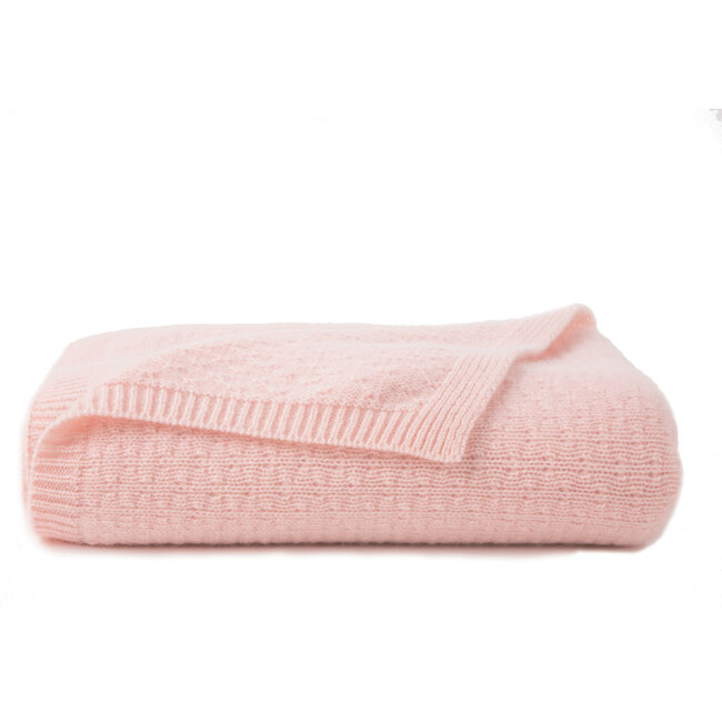 Tucked Stitch Cashmere Blanket, Pink