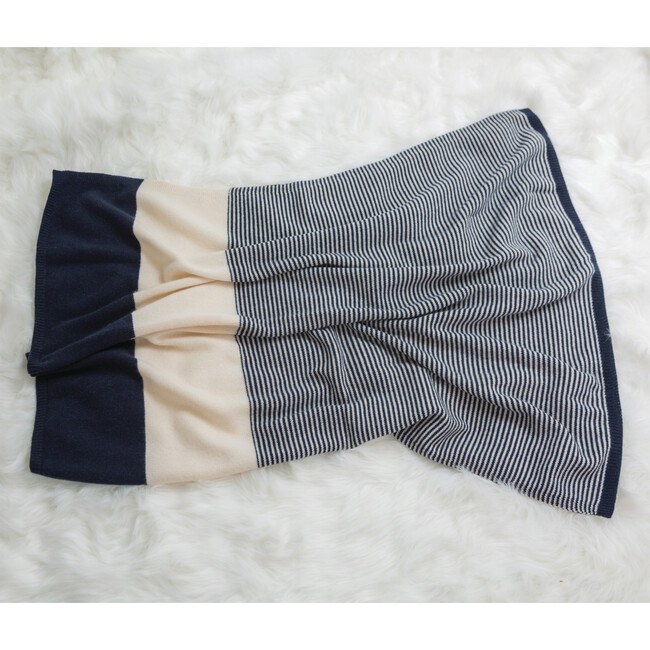 Striped Cashmere Blanket, Navy/White