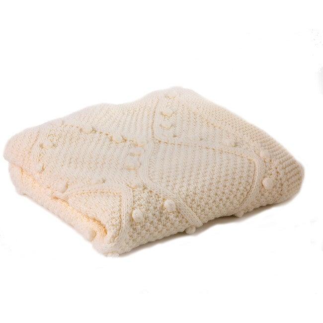 Handknit Cable Blanket, Ecru