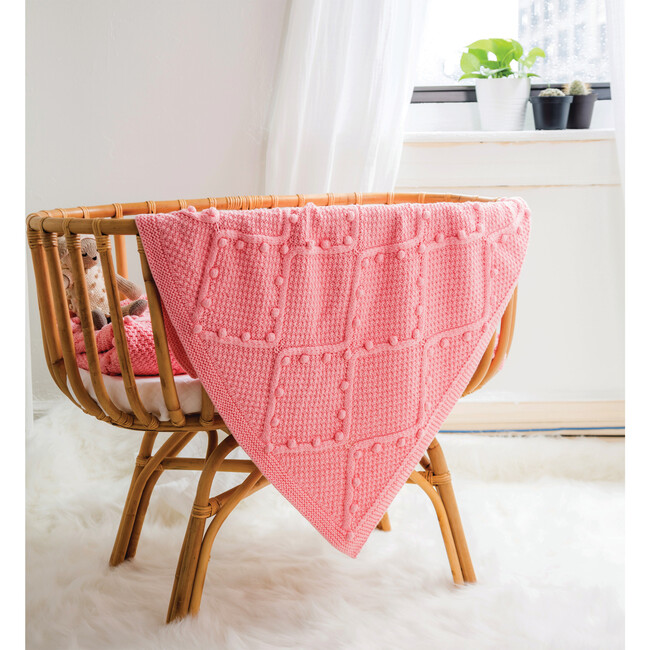 Handknit Cable Blanket, Pink