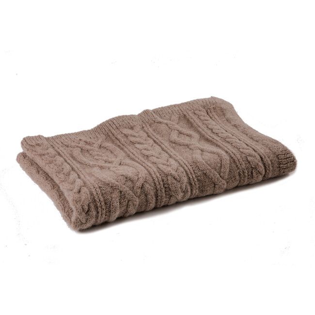 Handknit Cable Blanket, Brown