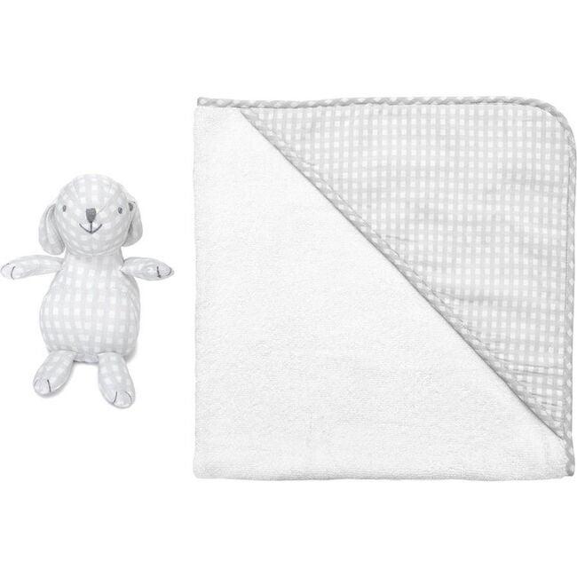 Hooded Towel & Bunny, Grey Gingham