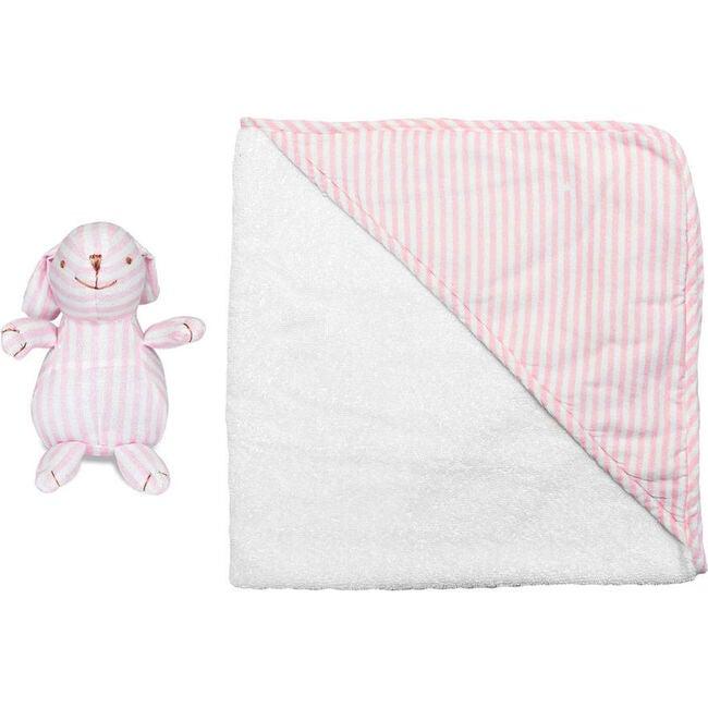 Hooded Towel & Bunny, Palm Beach Pink Stripe