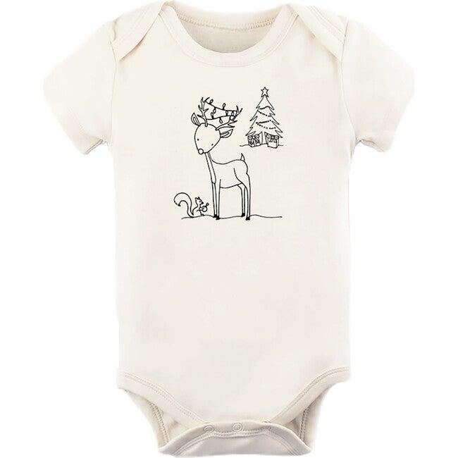 Woodland Reindeer Short Sleeve Onesie, Black