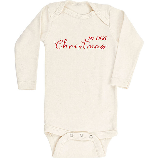 My First Christmas Long Sleeve Onesie, Red