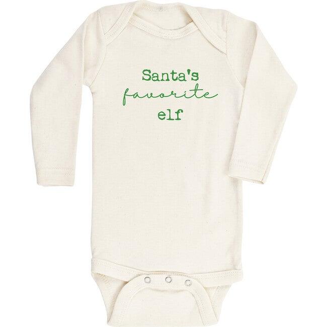 Santa's Favorite Elf Long Sleeve Onesie, Green