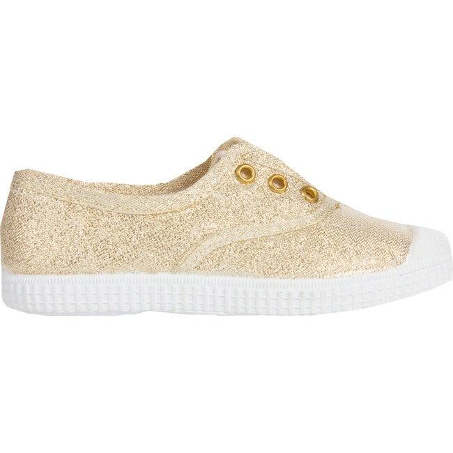 Plum Canvas Sneaker, Gold