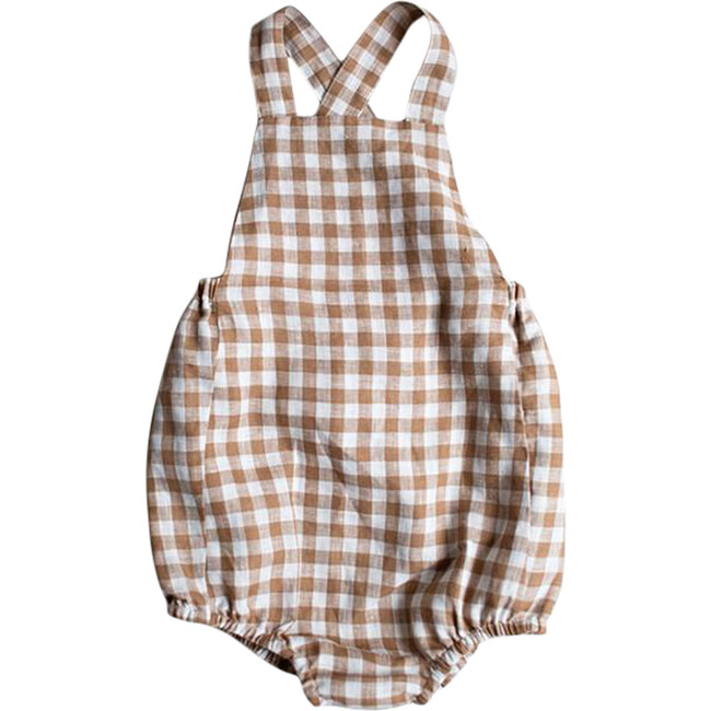 The Gingham Overall Romper, Bronze Gingham
