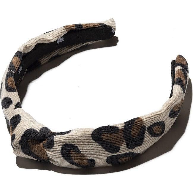 Kids Corduroy Knotted Headband, Latte Leopard