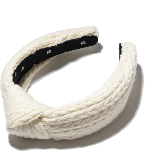 Women's Cable Knit Knotted Headband, Ivory