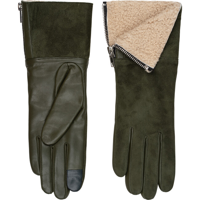 Women's Suede and Shearling Tech Gloves, Olive