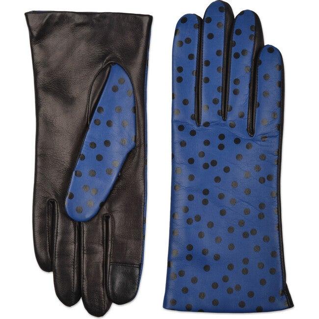 Women's Italian Polka Dot Leather Gloves, Blue