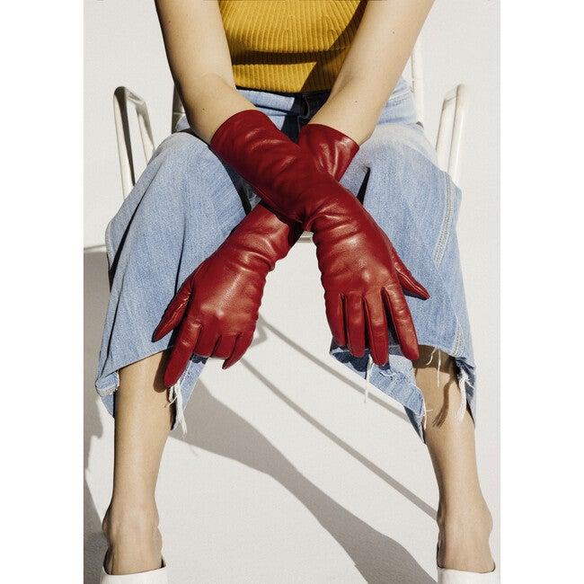 Women's Elbow Length Italian Gloves, Red