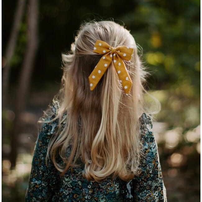 Classic Bow Clip, Mustard Dot Gauze