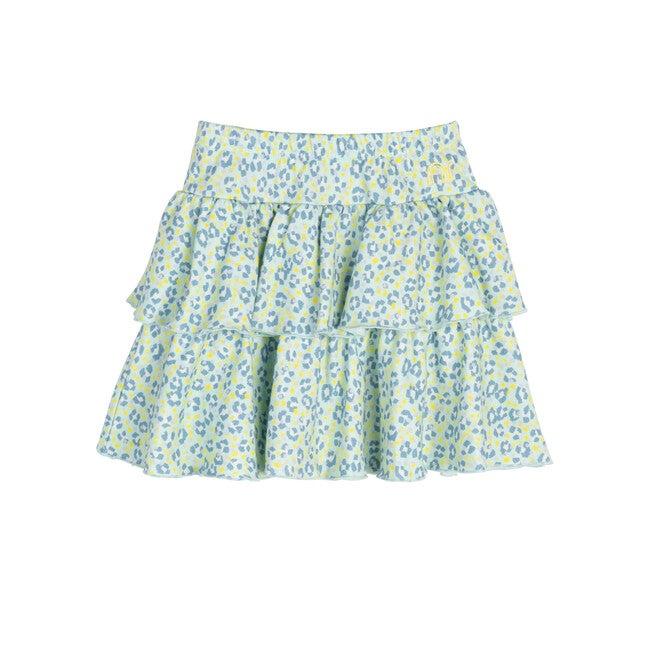 Courtney Ruffle Skirt, Mint Leopard