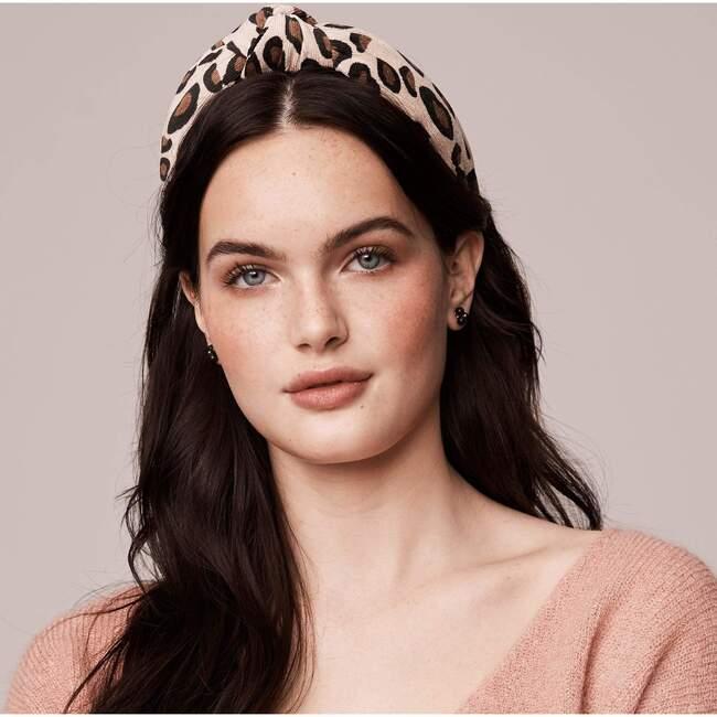 Women's Corduroy Knotted Headband, Latte Leopard