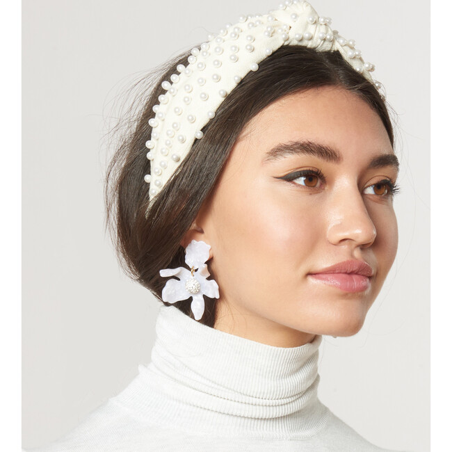 Women's Woven Pearl Knotted Headband, Ivory
