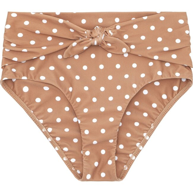 Women's Dot High Waist Tie Knot Bikini Bottom, Mocha