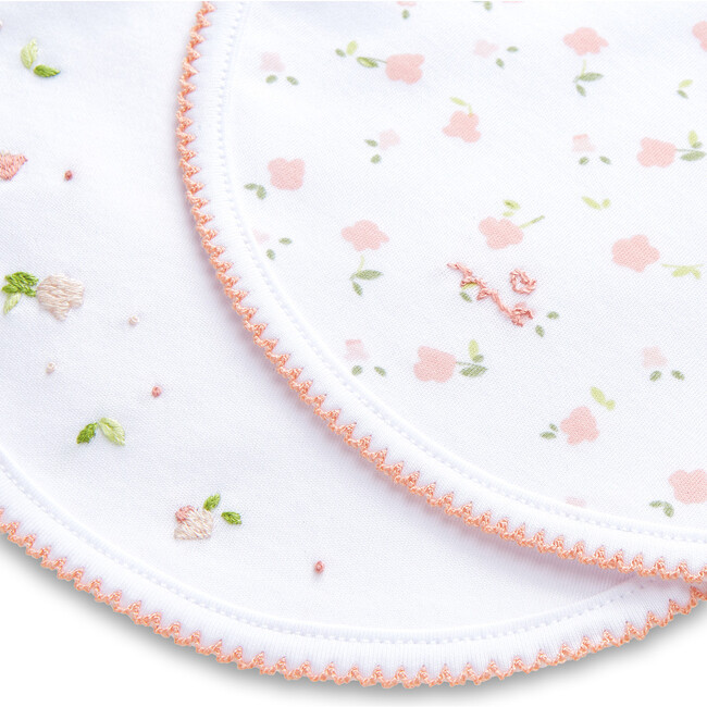 Bloom Wind Print and Embroidered Bib Set, Pink