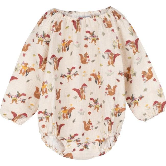 Baby Leila Long Sleeve Bubble, Cream Squirrels