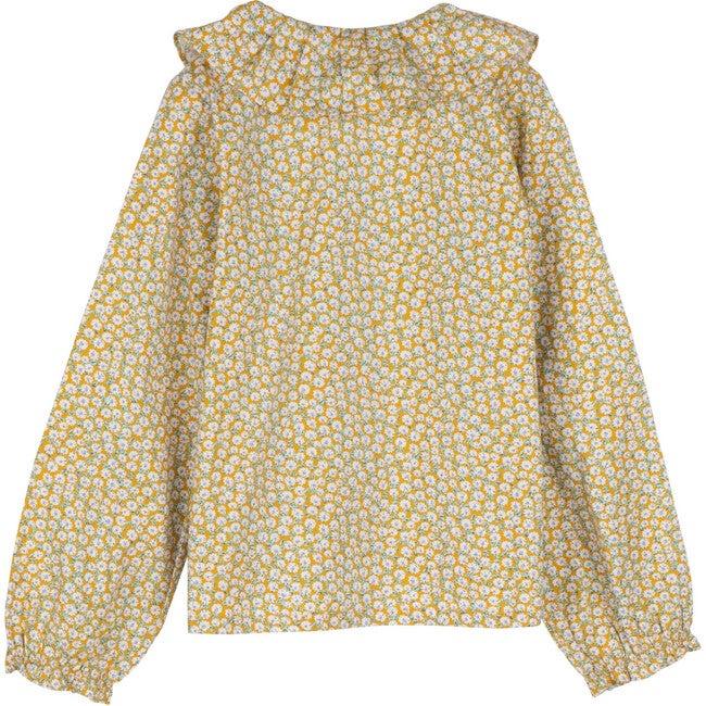 Lilliana Long Sleeve Collared Top, Marigold Ditsy Floral