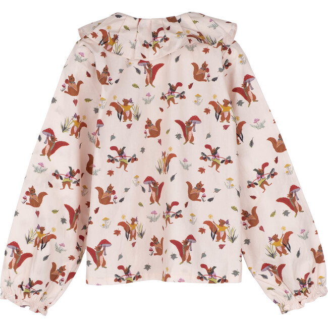 Lilliana Long Sleeve Collared Top, Light Pink Squirrels
