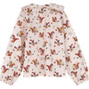 Lilliana Long Sleeve Collared Top, Light Pink Squirrels - Shirts - 2
