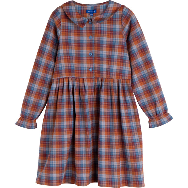 Emma Collared Dress, Peacock Blue Multi