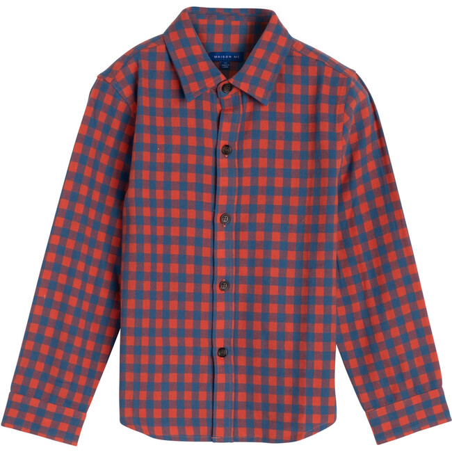 Max Button Down, Red & Blue Check - Shirts - 1
