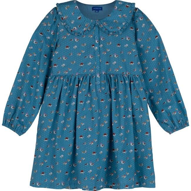 Niama Dress, Delphinium Blue Mushrooms