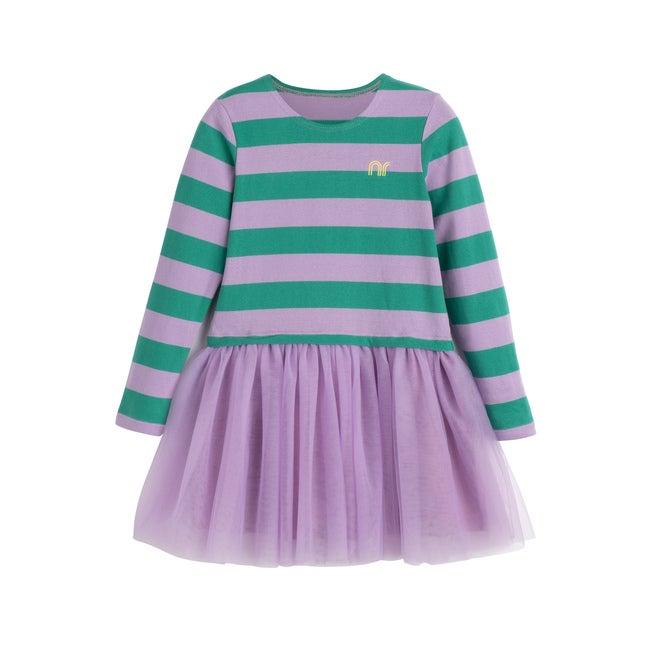 Pip Mixed Media Dress, Lavender Stripe