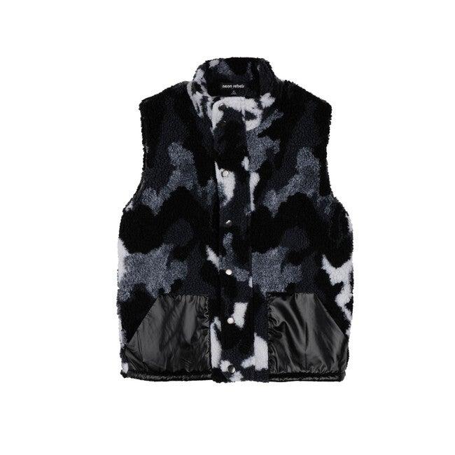 Archie Sherpa Vest, Grey Camo