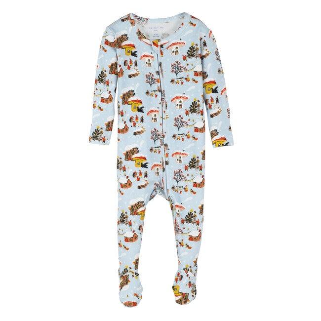 Baby Sawyer Holiday Zip Footie Pajama, Winter Mushroom Village